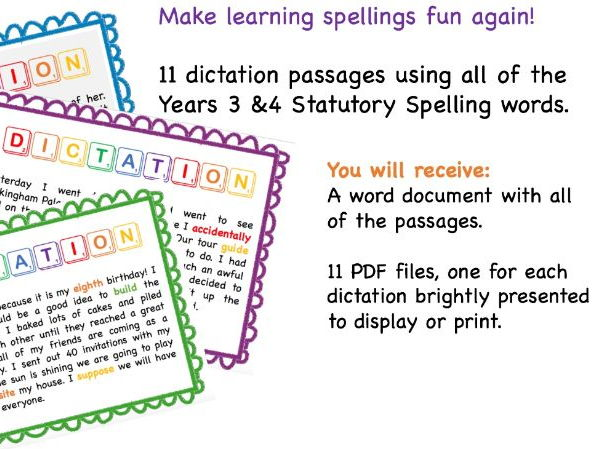Year 3 and 4 Spelling Dictation Activities