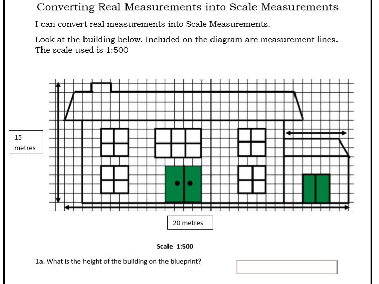 GCSE Maths/Functional Skills- Convert Real Measurements to Scale-House Plan