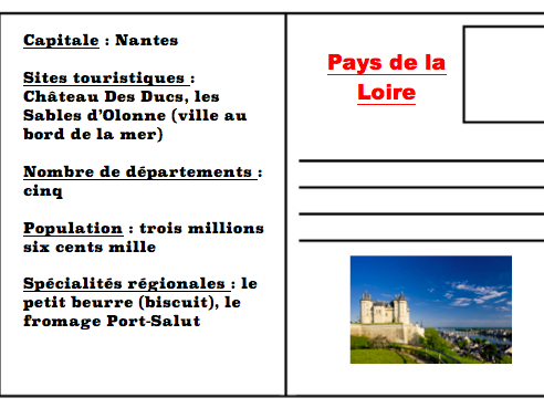 "French regions running dictation ""postcards"" with questions"