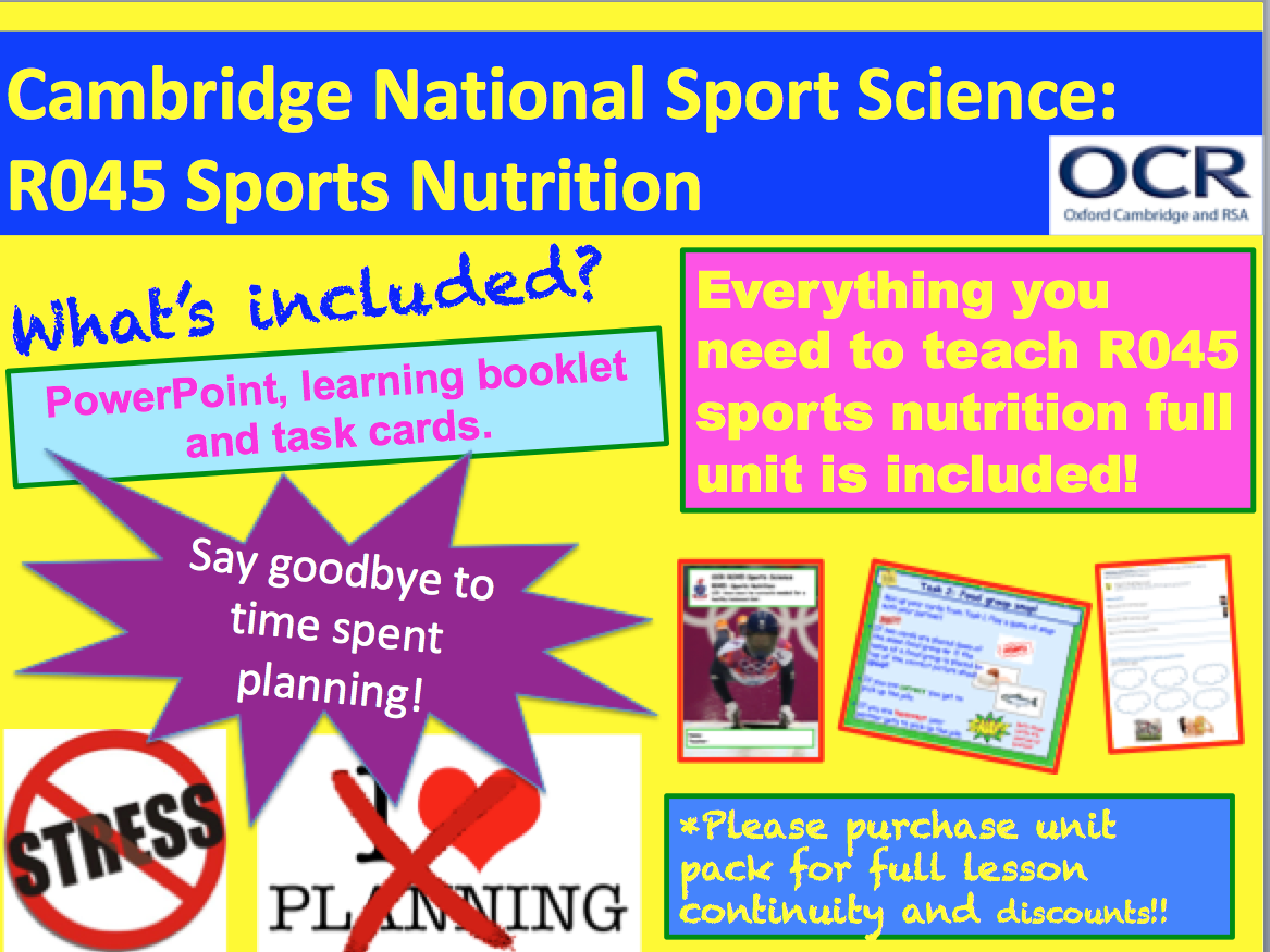 Cambridge National Sports Science R045: Sports Nutrition