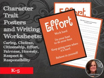 Character Traits Posters and Writing Prompts worksheets