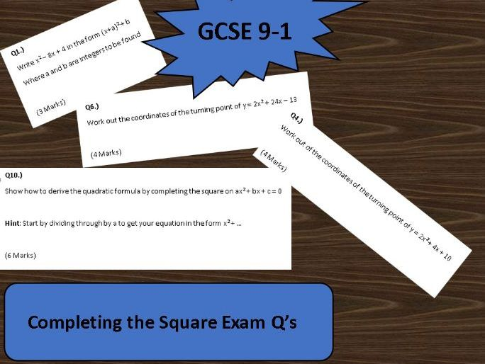 GCSE Maths 9-1 GCSE Exam Paper on Completing the Square