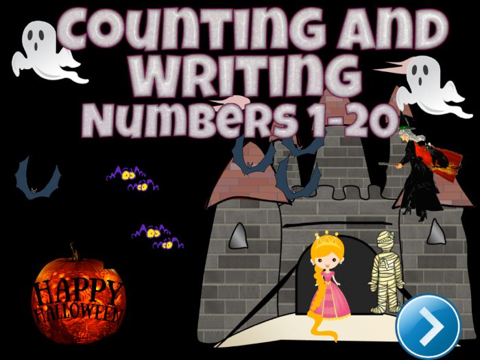 Halloween Math - Counting and Writing Numbers 1-20 PPT Game