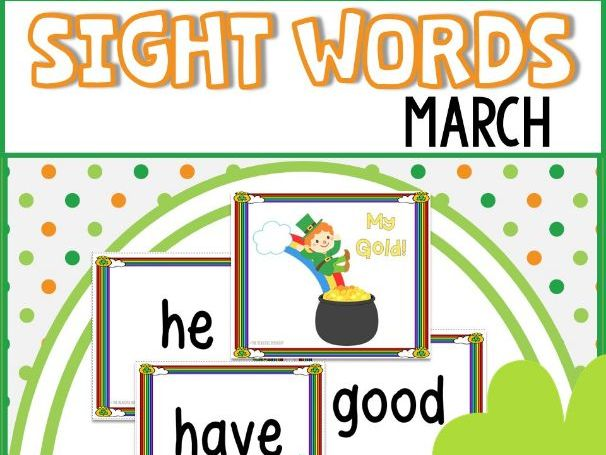 St. Patrick's Day Sight Words Flash Cards and Game