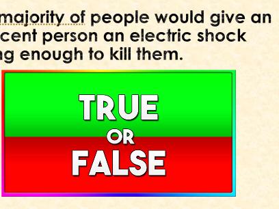 Psychology Quiz KS3 extra curricular Psychology quiz true false