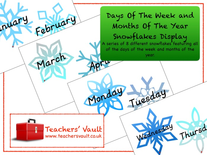 Days Of The Week and Months Of The Year Snowflakes Display