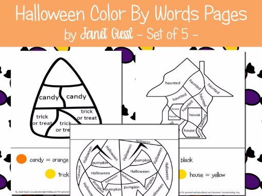 Halloween Color By Word Pages - Set of 5