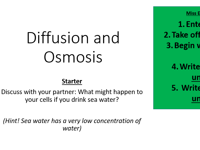KS4 AQA GCSE Diffusion & Osmosis [Lesson Plan Included] including practical literacy