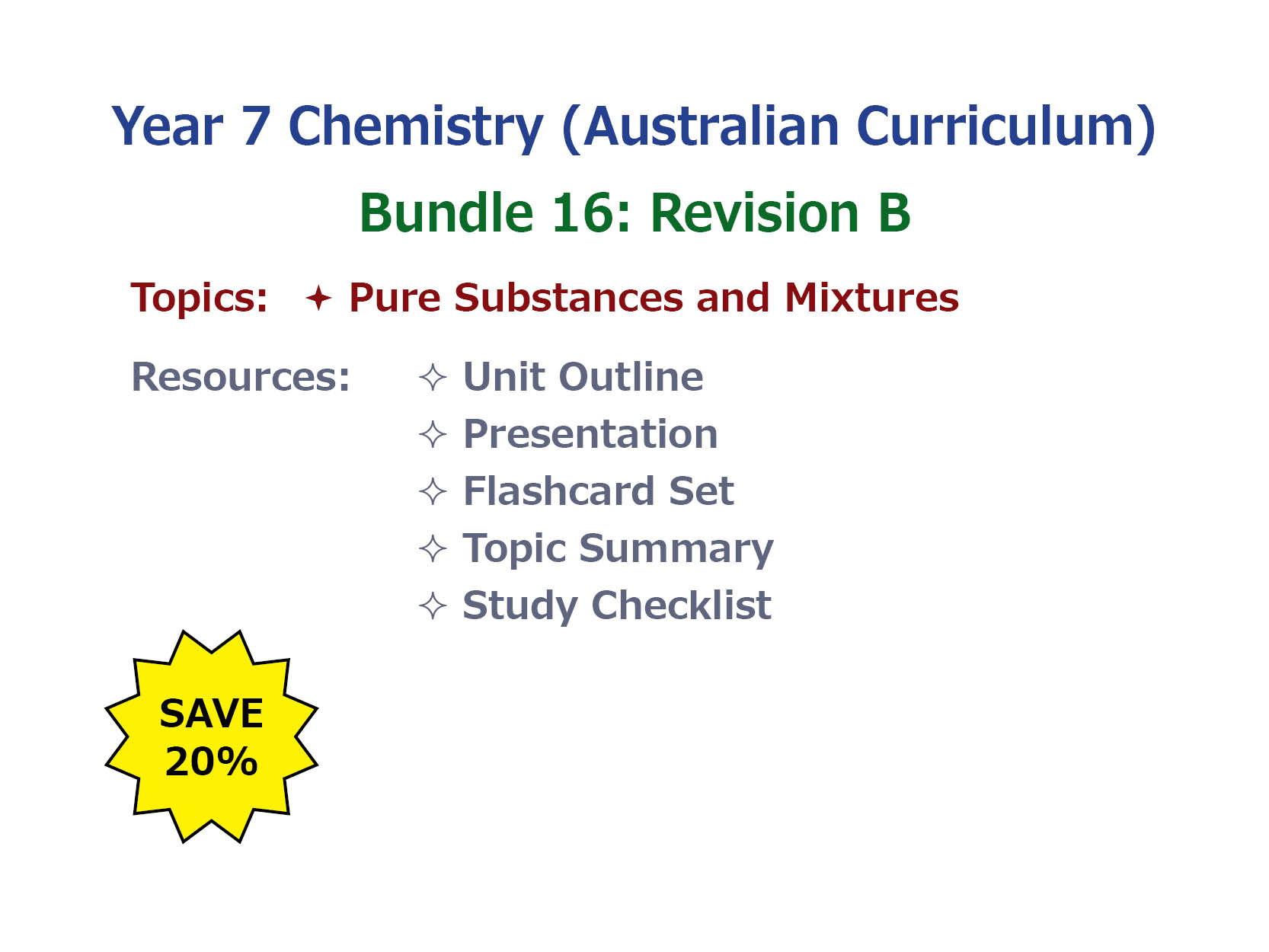 7AU Chemistry: Revision Bundle B