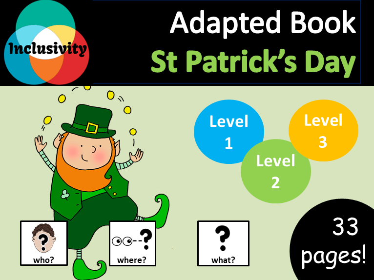 St Patrick's Day WHO, WHERE, WHAT? Adapted book preposition Level 1, Level 2 and Level 3