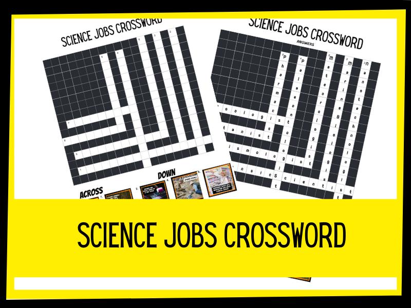 Science jobs crossword KS2 KS3