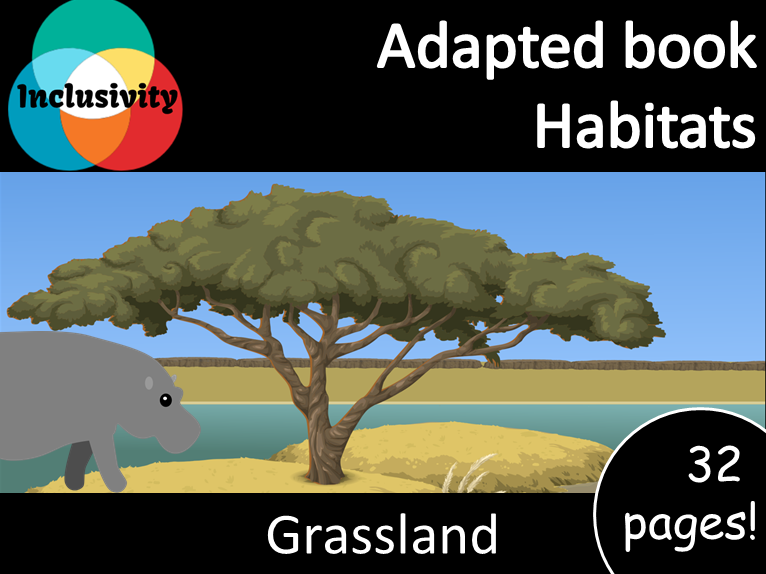 Adapted book habitat Grassland levels 1, 2 and 3; matching activity and animal sort
