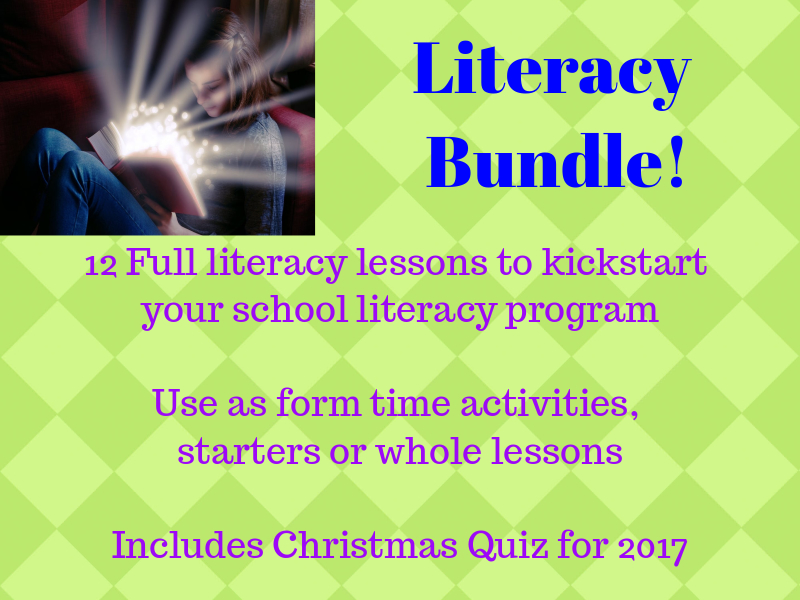 Literacy Time Bundle: 12 Literacy Lessons, plus Christmas Quiz and Healthy Lifestyles Lesson