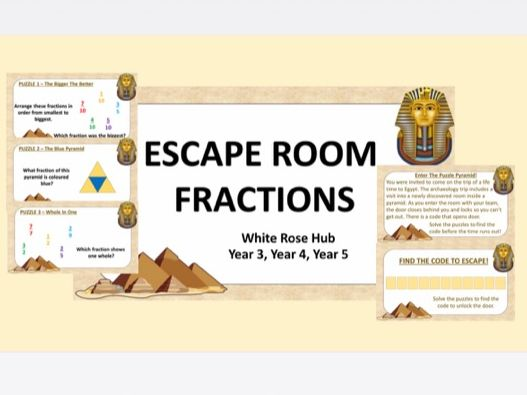 Maths Escape Rooms: Fractions Y3 Y4 Y5 (White Rose Hub)