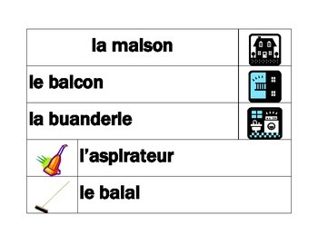 Maison (House in French) Word wall