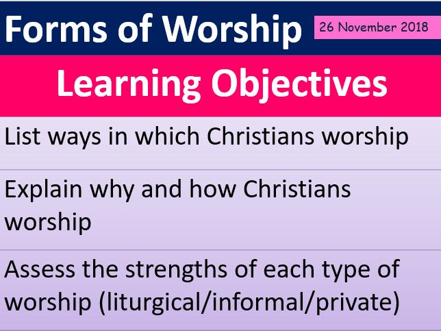 CHRISTIAN WORSHIP (Christian Beliefs AQA) RESOURCE FREE LESSON