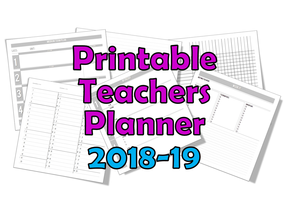 Teacher Planner 2018-19 (Printable) 4/5/6/7/8 Lessons-per-day