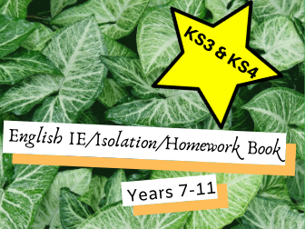 English IE/Isolation/Homework Work Booklets