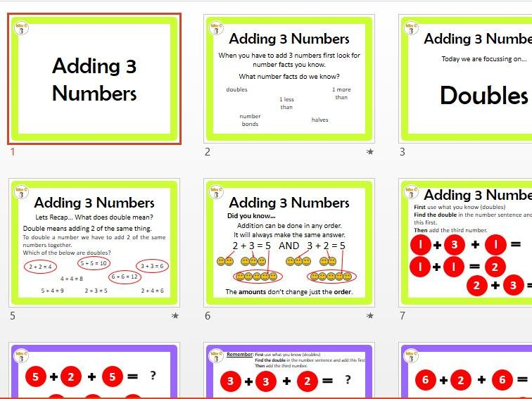 Adding 3 Numbers (Doubles)