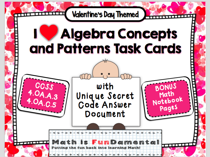 I Love Algebra Concepts & Patterns - with unique coded answer document