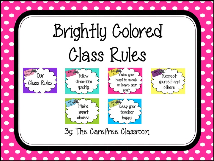 Class Rules: Bright Colored