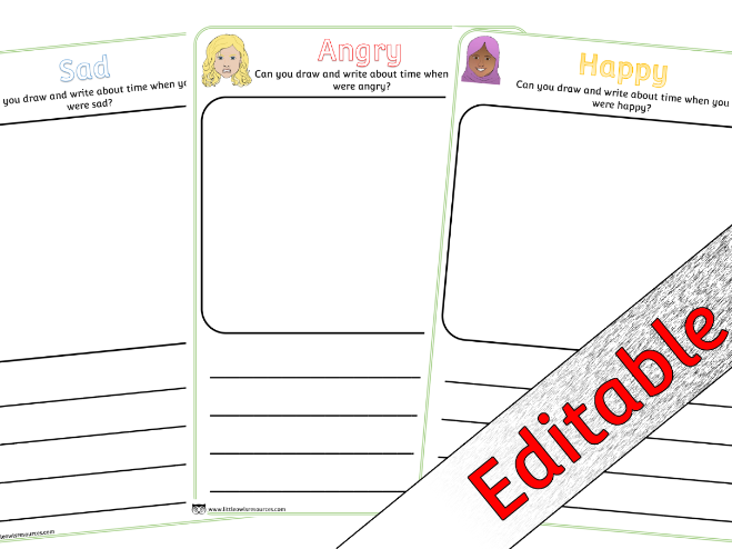 Emotions/Feelings Draw and Write Activity sheets - Editable