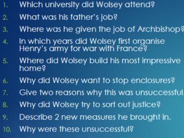 Wolsey and Cromwell Revision Quizzes