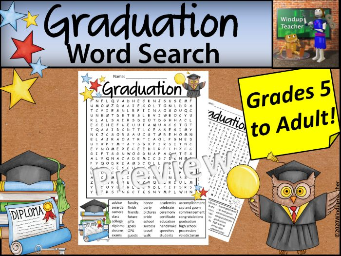 Graduation Word Search - Hard for Grades 5 to Adult
