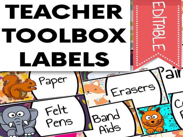 Animal Themed Teacher Toolbox Labels