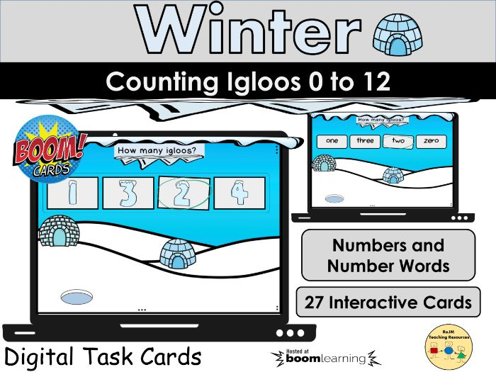 Counting to 12 Winter Counting Igloos BOOM Cards