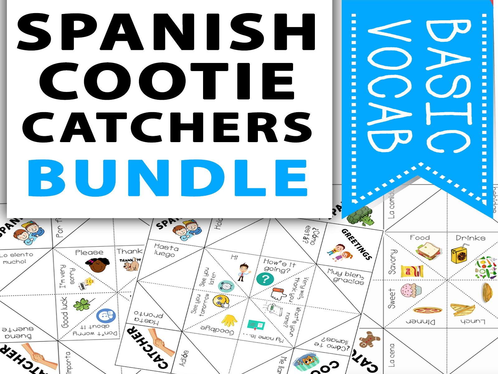 Spanish Basic Vocabulary Cootie Catcher Activity Bundle