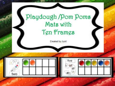 Playdough /Pom Poms Mats with Ten Frames - Numbers 0 - 10