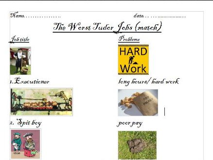 Tudor Jobs - the worst (powerpoint and worksheet)