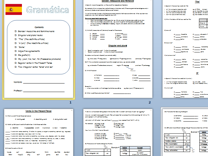KS3 Spanish: Grammar Booklet (10 pages)