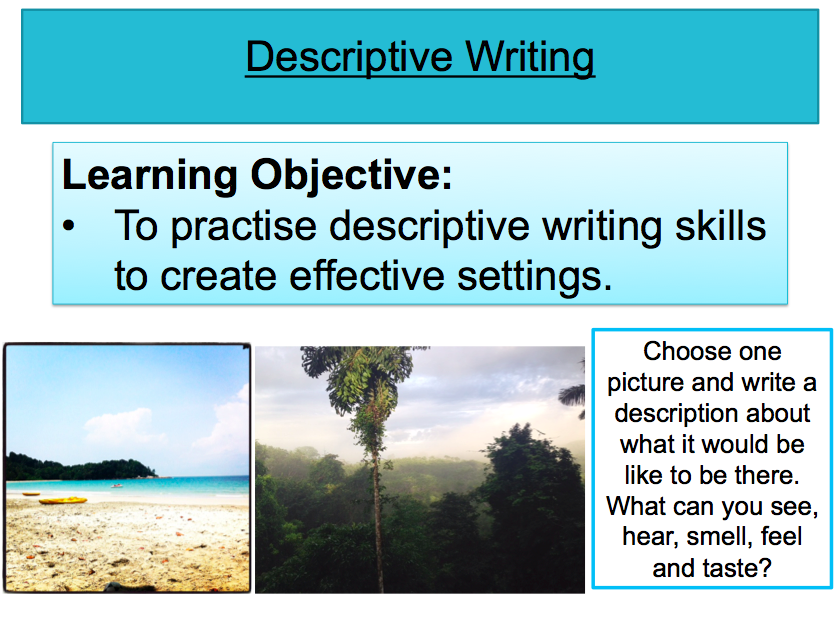 descriptive writing on the setting of