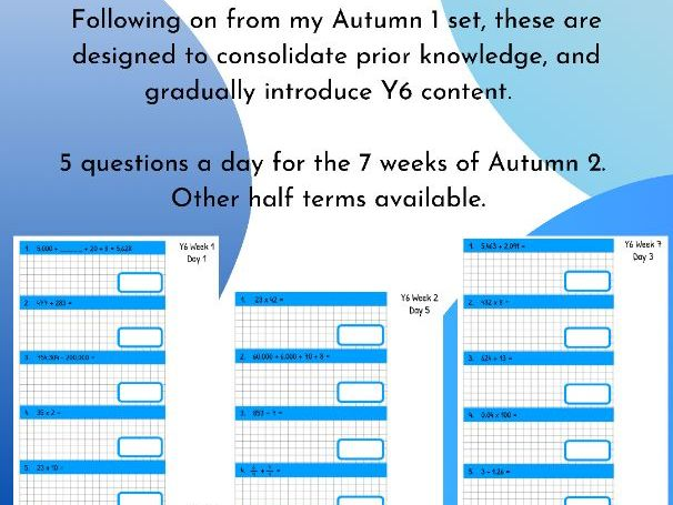Y6 Daily Arithmetic Practise Autumn 2