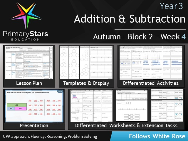 YEAR 3 - Addition subtraction - White Rose - WEEK 4 - Block 2 - Differentiated Planning & Resources