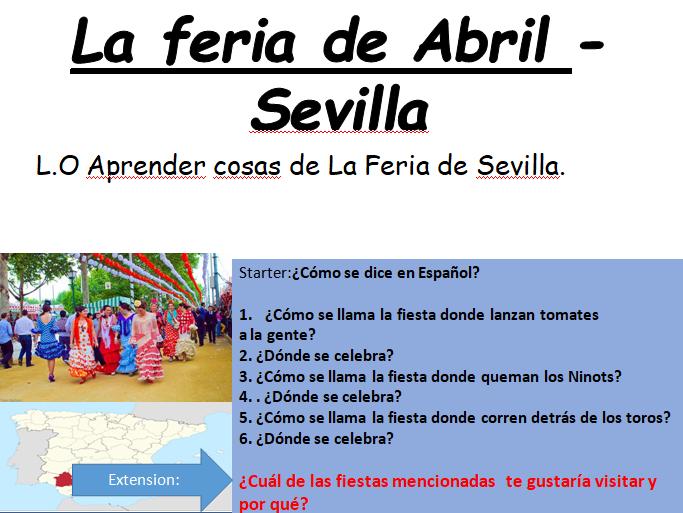 GCSE Spanish Fiestas La Feria de Sevilla
