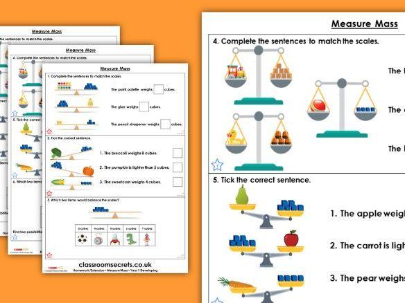 Year 1 Measure Mass Spring Block 4 Maths Homework Extension