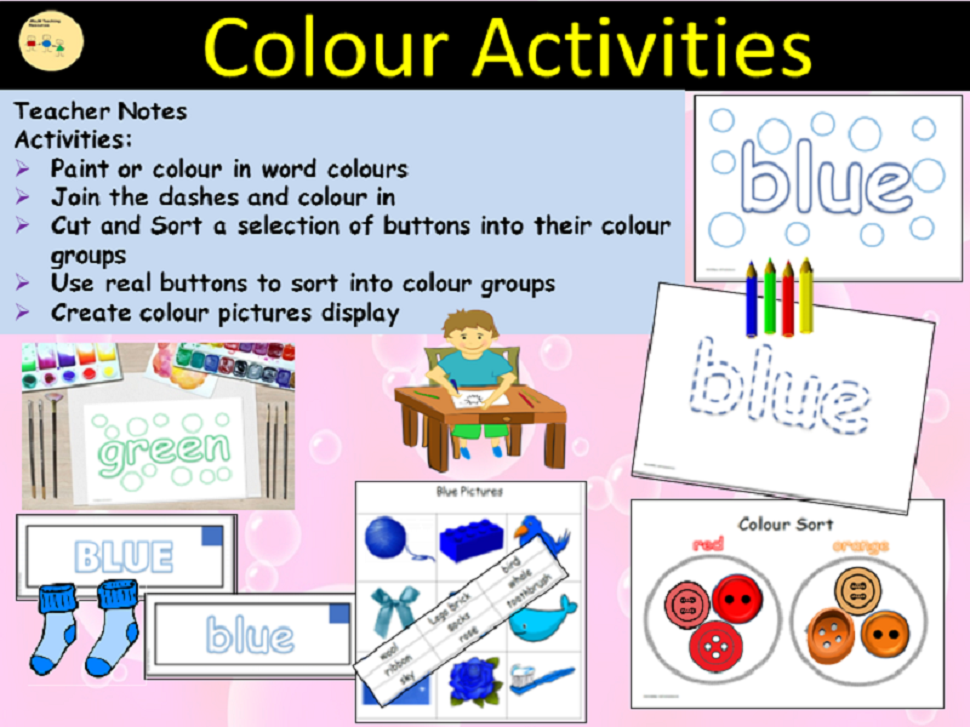 Colours Activities/Tasks and Sorting into Colour Groups, Cut/Paste - EYFS/Reception/Yr1