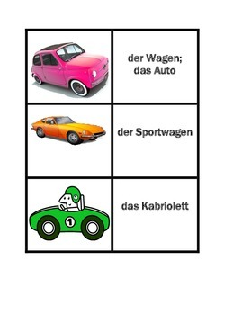 Fahrzeuge (Vehicles in German) Concentration games