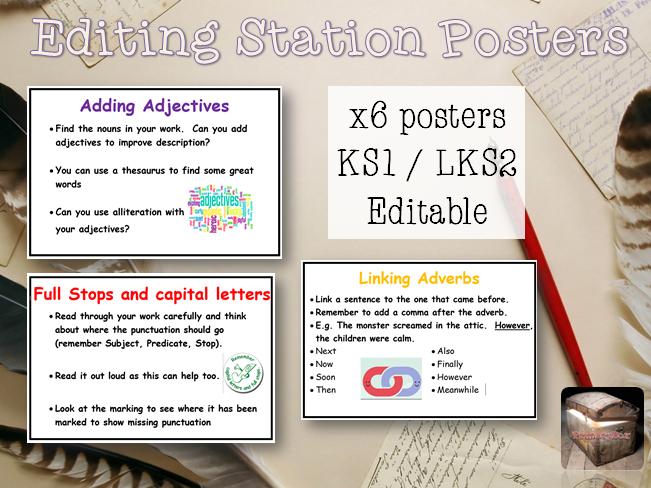 6 Editing Station Writing Posters - KS1 / LKS2