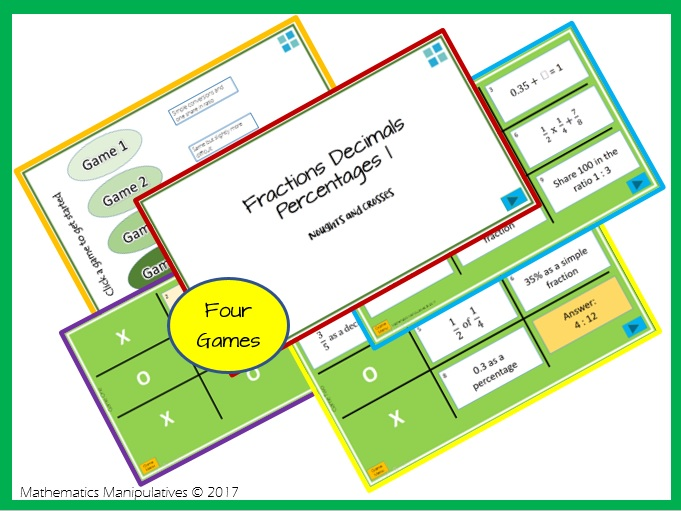 Fractions Decimals Percentages Noughts and Crosses Powerpoint Games 1