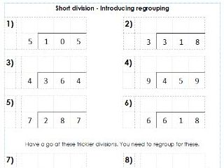 Year 3 / 4 - Short Division using Bus Stop Method - Differentiated Worksheets