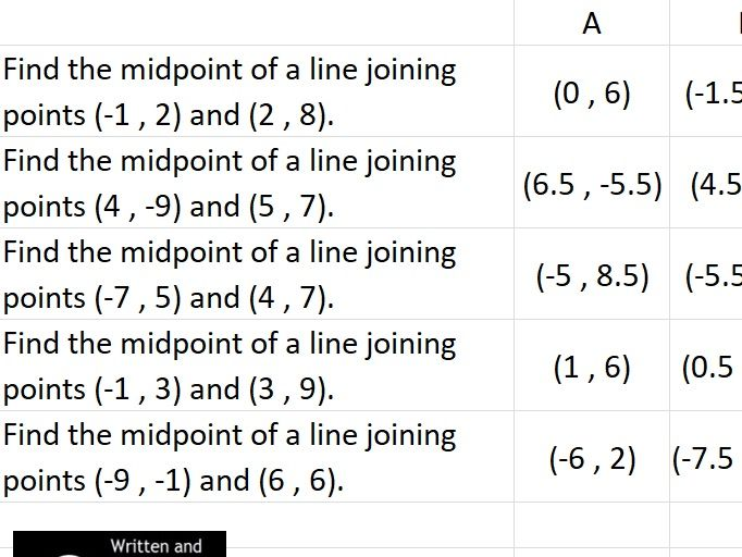Practice Y=mX + C and Midpoint Questions with Interactive Spreadsheet