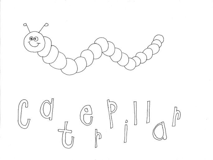 Caterpillar (Bugs, Insects, Minibeasts) Colouring Page