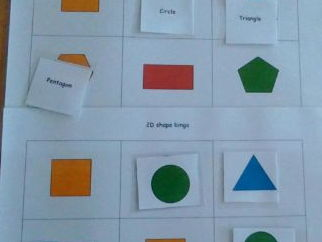 2D shape bingo- shape pictures and names
