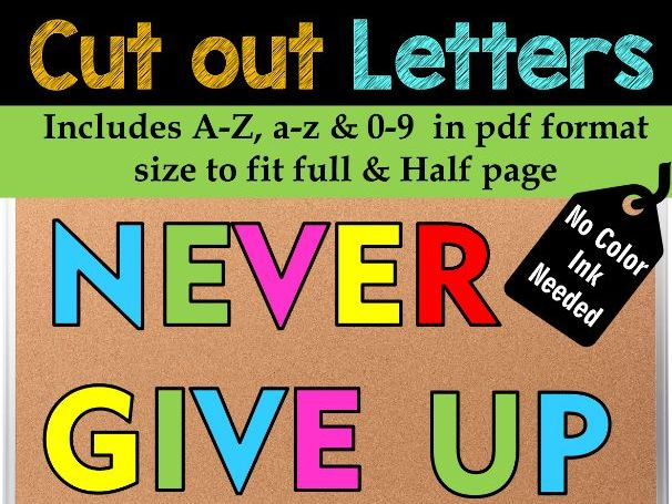Bulletin Board cut out Letters and Numbers | Back to School | Easy Cut - No PREP