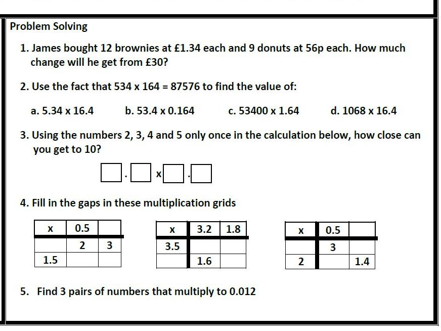 Addition, Subtraction, Division  and Multiplication of Decimals Mastery Worksheets