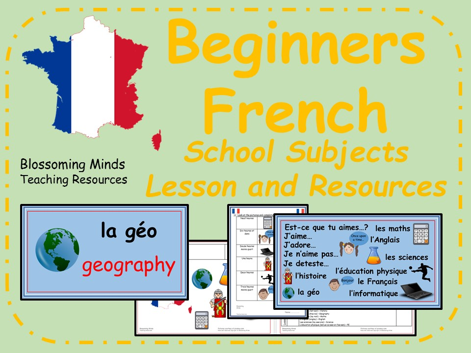 French lesson and resources - KS2 - School subjects